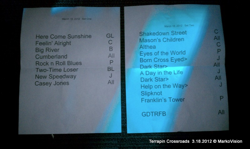Phil Lesh and Friends – Terrapin Crossroads Setlist Sunday March 18 2012